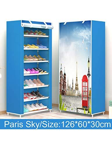 XIEJIA Zapatero Estante para Zapatos A Prueba De Polvo De Varias Capas Instalación Fácil Pasillo Organizador De Zapatos Estante Soporte para Almacenamiento De Sala De Estar, Paris Sky, 7L
