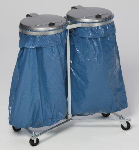 VAR Abfallsammler, 2fach, fahrbar, verzinkt, Deckel silber, BxTxH 860x500x1020 mm