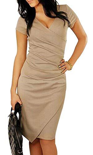 Bestfort Damen Kurzen Ärmel Elegant Kleid Etuikleid V-Ausschnitt Business Stretch Partykleid Reißverschluss Cocktail Figurbetontes Knielang Die Taille Im frühjahr und Sommer