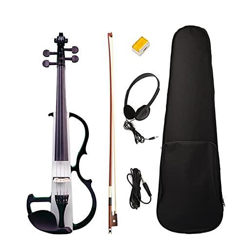 ANTENM Profesional Profesional Solid 4 4 Tamaño Completo Silencioso Violín eléctrico Set w Rosin + Brazilwood Bow + Auriculares + Cable de Audio for Violinista