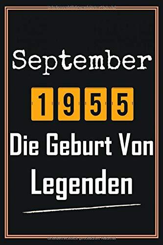 September 1955 Die Geburt von Legenden: 65. geburtstag geschenk frauen mann, geschenkideen für 65 jahre mutter vater Bruder Schwester Freund - Notizbuch a5 liniert