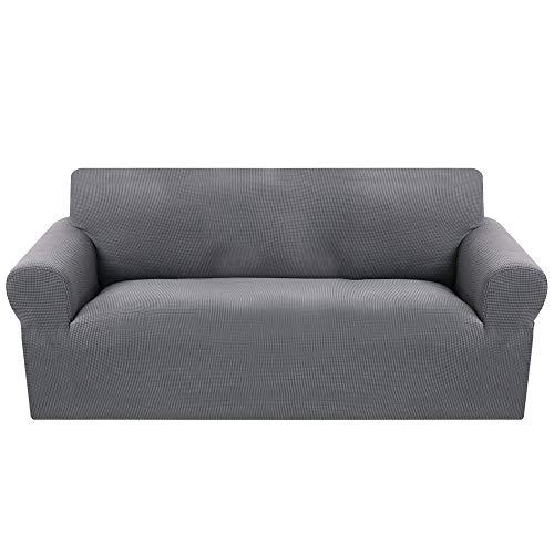 SearchI Fundas Sofa Elasticas de 3 Plazas,Tejido Jacquard de Poliéster Cubre Sofa Universal contra Polvo,Extraíbles y Lavables,Modernas Fundas Protectoras para Sofa Sillón(Gris,3 Plazas:180-230cm)