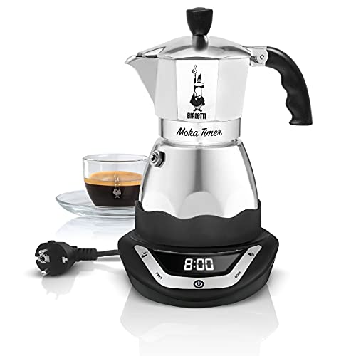 Bialetti 0006092 Timer Electric Moka Pot, 365 W, Noir, Argent