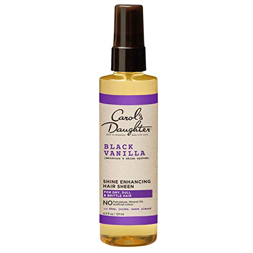 Carol's Daughter Black Vanilla Moisture & Shine Hair Sheen For Dry Hair and Dull Hair, with Shea Butter, Jojoba Oil, and Sweet Almond Oil, Paraben Free Hair Sheen, 4.3 Fl Oz (Pack of 1)