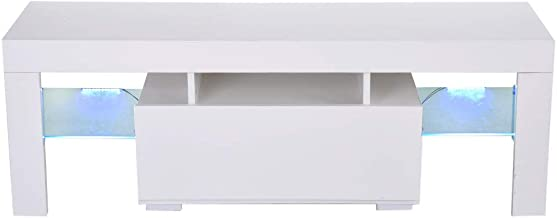 Toysgift TV Stand Cabinet Media Storage Console ,51 inch Wide 3-Tier Entertainment Center, Square TV Stand with Drawer for...