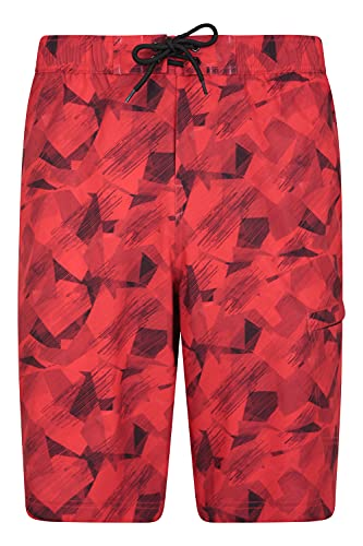 Mountain Warehouse Printed Mens Swim Shorts - Lightweight Mens Boardshorts, Quick Drying Boardies, UPF 50+ Bottoms, 2-Way-Stretch - Best for Summer, Beach, Diving & Pool Rojo 4XL