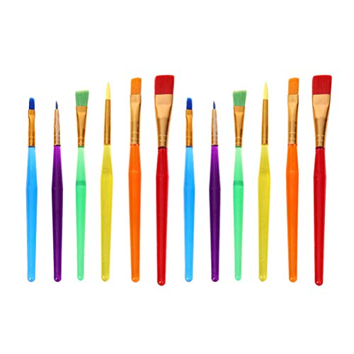 YeahiBaby 12pcs / 2 Set Kids Paint Brush Pinceles para Pintar Arte Juegos de Herramientas de Pintura para Acuarela Gouache Oil Painting (Colorido)