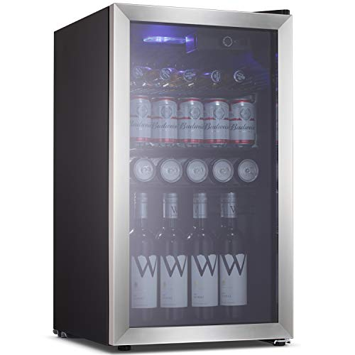 Beverage Refrigerator Cooler Wine Fride,113 Can or 60 Bottles Capacity with Smoky Gray Glass Door for Soda Beer or Wine,Compressor Touch Panel Digital Temperature Display stainless steel(3.2 cu.ft)