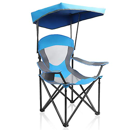 ALPHA CAMP Mesh Canopy Chair Folding Camping Chair - Royal Blue