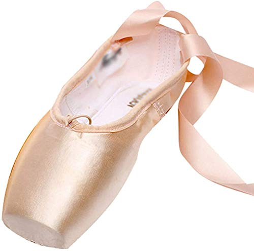 LINNUO Ballet Pointe Shoes Satin Ballet Shoes for Girls with Toe Pads Ballet Ribbon and Pointe Shoes Elastic