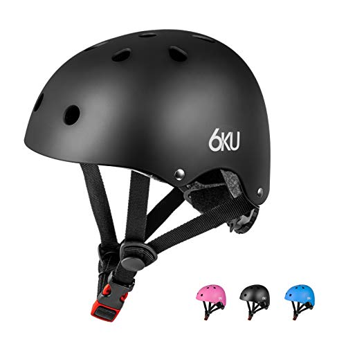 "6KU Skateboard Helmet CPSC Certified, Adjustable(20.5"" - 22.05"") for Kids Youth Adult, Multi-Sport Safety Cycling Skating Scooter Helmets,Black"