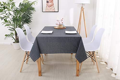trounistro Tischdecke, Wasserabweisend Tischdecke Tischtuch Leinendecke Leinenoptik Tischwäsche Pflegeleicht abwaschbar Farbe & Größe Wählbar Fur Garten Tischdekoration (Dunkelgrau, 130 * 220cm)