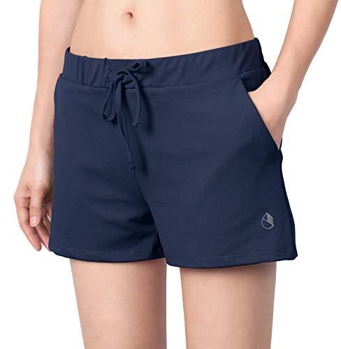 icyzone Pantalones cortos de deporte para mujer, para yoga, fitness, gimnasio, de un solo color. azul marino XL