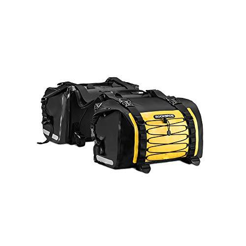 ROCKBROS Motorrad Gepäckträgertaschen 100% Wasserdicht Multifunktional Doppel Satteltaschen Für Radfahren Reisen Ca.62L Gelb