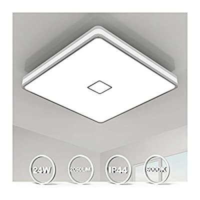 Ceiling Light Fixture Flush Mount LED Ceiling Lamp 5000K, Airand Square Lighting Fixture Modern LED Lights for Bedroom Living Dining Room, 12.8inch, 24W[180W Equiv], 2050 LM, IP44, 80Ra+, Non Dimmable