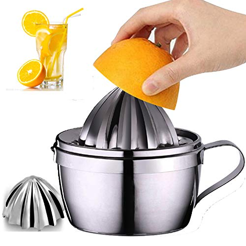 Stainless Steel Lemon Squeezer Manual Citrus Juicer with Storage Cup 400ml 13oz with 2 Reamer Parts Citrus Press DIY Juice Tool for Lemons Limes and Oranges in Kitchen