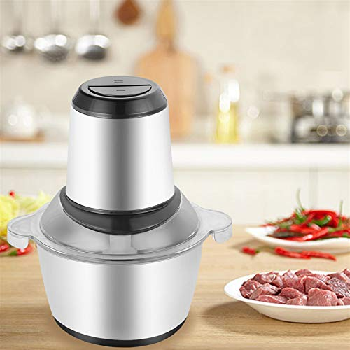 YUN JIN Electric Meat Grinder,2L Multifunction Meat Vegetables Fruits Nuts Slicer,110V 300W One-Button Meat Grinder, 4 Sharp Blades and 304 Stainless Steel 2 Modes Household Food Chopper