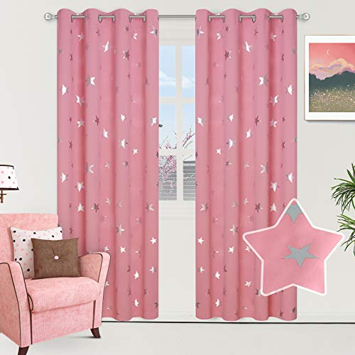 Lofus Thermal Insulated Blackout Curtains for Kids Room with Silver Stars, Grommet Window Curtain Protect Privacy and Nosise Reducing, 52 x 95 Inches Pink