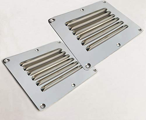 Pebbly Beach 2PCS Square Stamped Louvered Vent Stainless Steel Air Vent Boat Louver Grille Cover 5'×4.5'