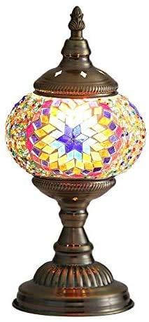 Lámpara Escritorio Turca de Mesilla de Noche Vintage para Dormitorio Mosaico cristal, Base Bronze