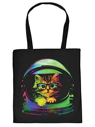 Ausgefallene Stofftasche in schwarz mit creativem Neon Motiv: Space Kitten - Katzenbaby mit Nerd Brille im Helm - Eyecatcher!