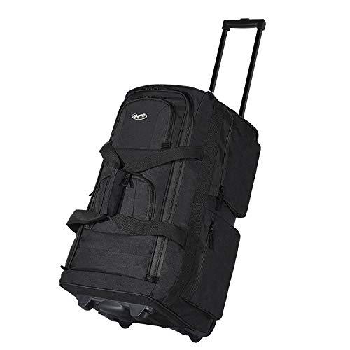 Olympia Luggage 22' 8 Pocket Rolling Duffel Bag (Black / Gray)