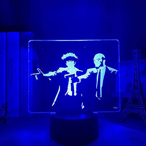 DUYAO00 - Tarjeta para el Día de la Madre con luz 3D de anime, decoración de habitación de los niños, regalo de cumpleaños, de cómic, Cowboy, Bebop, luz nocturna de acrílico