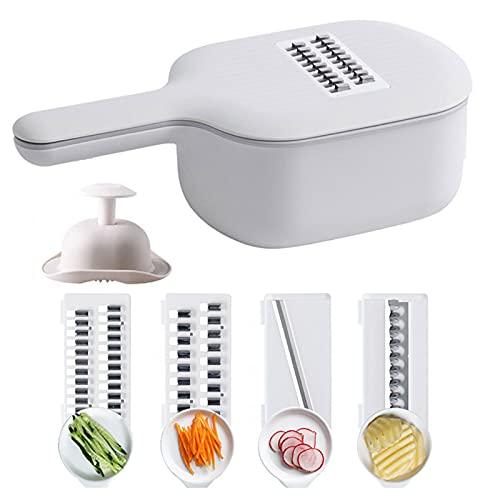 N / B Cortador de verduras 4 en 1 con cesta de drenaje, cortador de fruta de mandolina profesional ajustable para alimentos, herramienta de cocina multifuncional para cebolla patata verduras