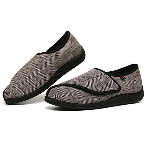 LNLJ - Zapatillas de lactancia con pies hinchados, ampliadas, velcro ampliado a cuadros, anchas y anchas en patas de azúcar ajustables, marrón, 45