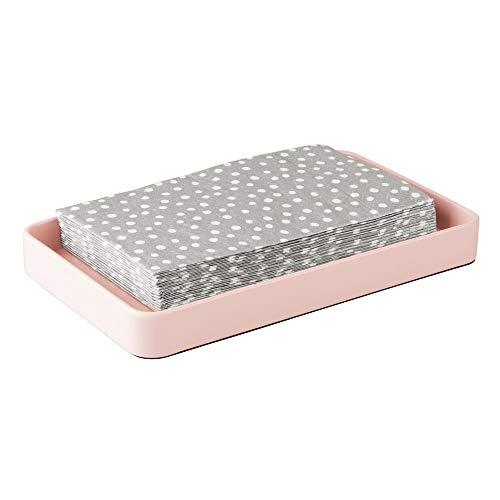 mDesign Organizador de baño – Bandeja de metal moderna – Bandeja decorativa resistente y antideslizante para pañuelos, toallas de invitados, etc. – rosa claro