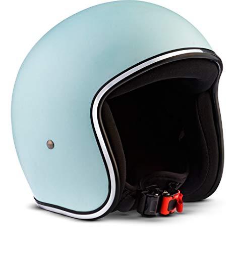 Preisvergleich Produktbild Rebel · R2 Basil · Jet-Helm · Mofa Motorrad-Helm Scooter-Helm Roller Retro Chopper · Fiberglass · Extra small Shell · Click-n-Secure Clip · Tragetasche · S (55-56cm)