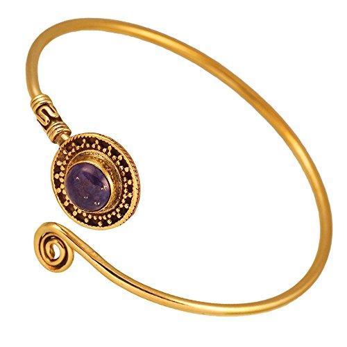 Chic-Net Messing Armreif antik golden Lapis Stein Lila Spirale verstellbar antik Tribal Schmuck