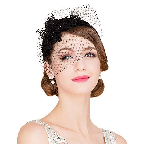 F FADVES Ladies Flower Veil Fascinators Cocktail Tea Party Banque Wedding Headwear Black