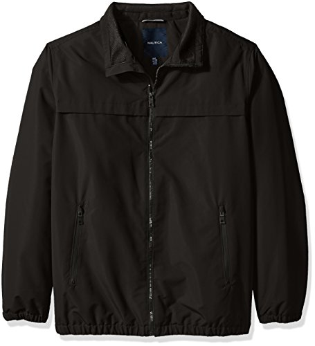 Nautica Men's Big and Tall Poly Shell Jacket with Fleece Lining, Black, 3XT