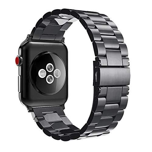 FINTIE Cinturino Compatibile con Apple Watch 42mm 44mm, Bracciale Ricambio in Acciaio Inossidabile Cinturini con Chiusura Pieghevole per Apple Watch Series 5 4 3 2 1, Nero