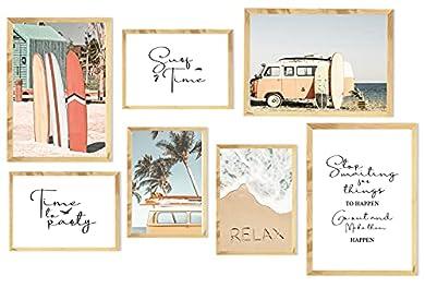 Foto di Stampe da Parete Moderne,Arte Parete Citazioni Ispiratrici,Poster e Stampe Nordici per Soggiorno,Poster Abbinati,Immagini Tavola da Surf,Poster Spiaggia per Camera da Letto,3xA3+4xA4,Senza Cornice