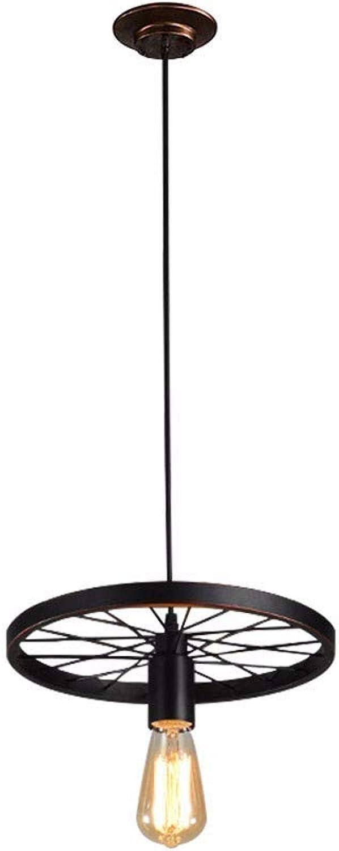 Yuyu19-Chandelier Kronleuchter Nordic Industrial Vintage Loft Deckenleuchte Küche Schlafzimmer Bar Wohnzimmer Esszimmer Rad Eisen, schwarz, 30  23cm