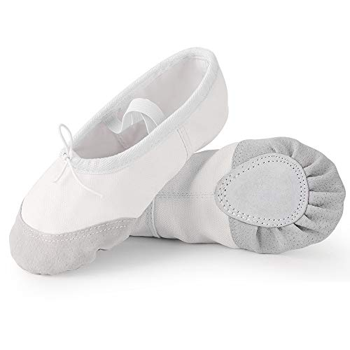 Soudittur Zapatillas de Ballet Suela Partida de Cuero Calzado de Danza para Niña y Mujer Adultos Blancas Tallas 22