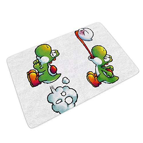 Alansy-Mat Tortoise Bathroom Non-Slip Doormat for Patio Cartoon Turtle Theme White 24x35 inch