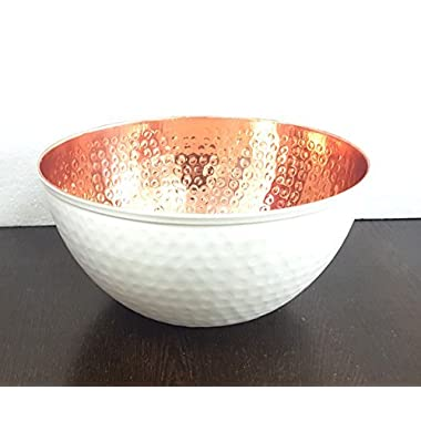 Copper and White Hammered Mixing Bowl, 100% Pure Heavy Gauge - Multipurpose Use of Antique Copper Serving Bowl For Candy, Salad - Decorative Copper Bowl For Your Kitchen 11.5  by Alchemade
