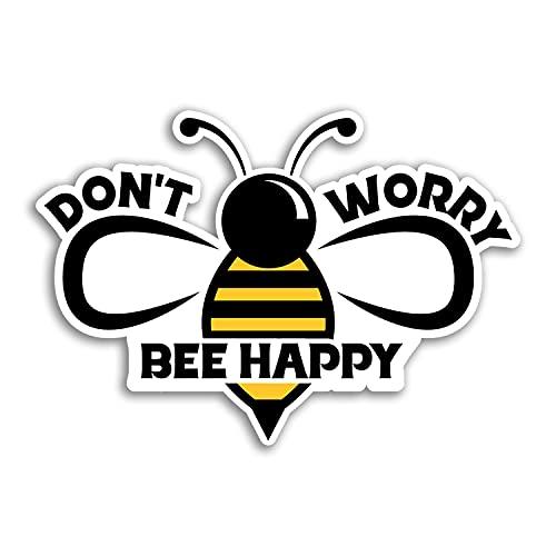 2 pegatinas de vinilo con texto en inglés «Don't Worry Bee» de 10 cm de ancho, con texto en inglés «Insect Science» #29946