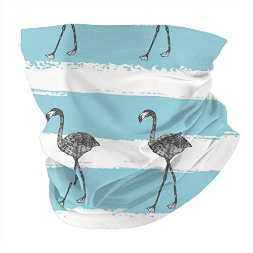 Kopftuch, personalisierbar, Outdoor-Stirnband, Sport-Kopfbedeckung, handgezeichneter Flamingo in Bleistift, nahtloses Muster
