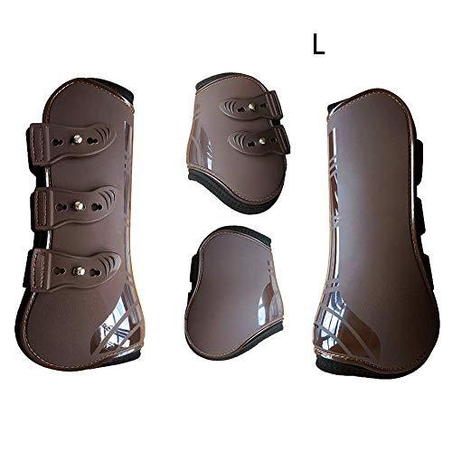 hehsd0 - Botas de equitación de Piel sintética, duraderas, Ajustables, prácticas, para protección Frontal y de Entrenamiento (Color Negro), marrón, Large