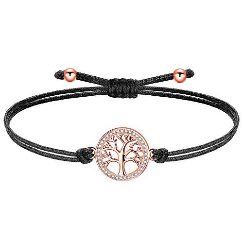 ZENI Pulsera Árbol de la vida Mujeres Niñas Oro rosa Cobre Zirconia cúbica Charm con cadena de cordón negro, Hecho a mano