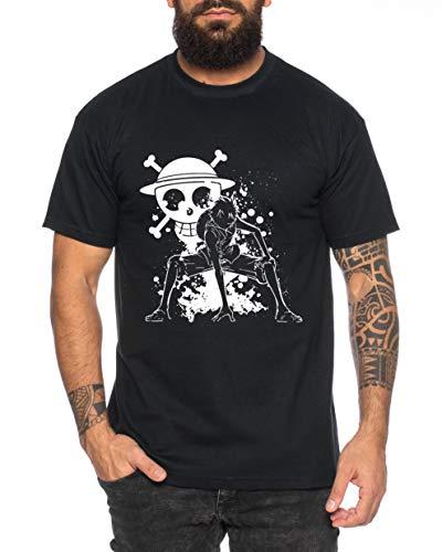 Tee Kiki Ruffy Angry Zorro Gear One Manga Herren 2 Ruffy T-Shirt Anime Piece, XL, Schwarz