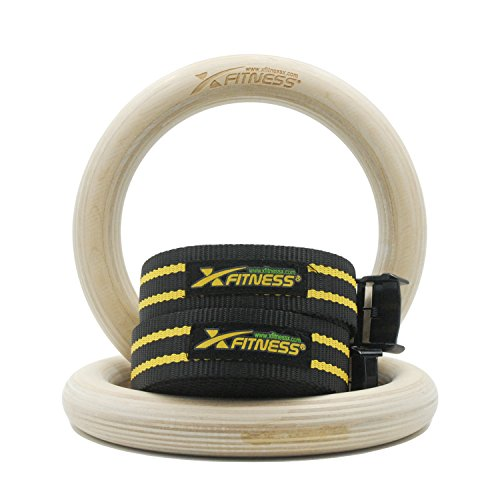 "xFitness Wood Gymnastic Rings 9.25"" Diameter Ring with Enhanced Flexible Buckles & Durable Adjustable Straps for Crossfit and Strength Training 