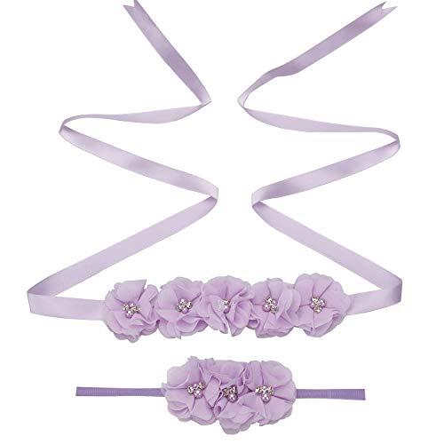 Maternity Flower Sash Headband Set Women Girls Wedding Baby Shower Sash Belt Lavender