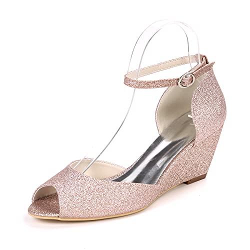 Mujer Zapatos De Boda Tacón Cuña Punta Abierta Zapatos De Novia Minimalismo...