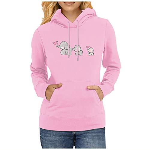 Xniral Kapuzenpullover Bedrucktes Sweatshirt mit Kapuze und Langen Ärmeln Damen Slim Pullover Tops Winter Streetwear Oberteile(d-Rosa,L)