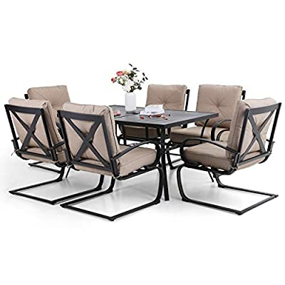 Sophia & William Patio Dining Set 7-Piece Metal Outdoor Table Furniture Set with 2.6 Inch Umbrella Hole, 6 Spring Motion Chairs and 1 Rectangle Bistro Deck Table, Beige